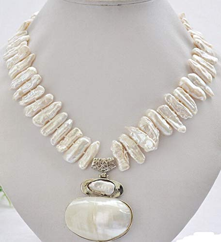 Davitu Chain Necklaces - Women Gift Jewelry Silver Clasp Real Fine Natural Pearl 25mm White Biwa dens Freshwater Pearl Necklace 17inch + mabe Pendant