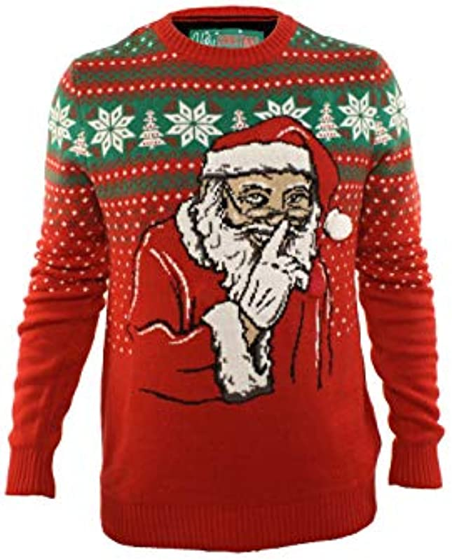 Ugly Christmas Sweater Company Męskie Ugly Christmas Sweater-Light-up Don't Tell On Santa Pullover: Odzież