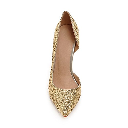 Minivog Mujeres Dorsay Sequins High Heel Pump Shoe Gold