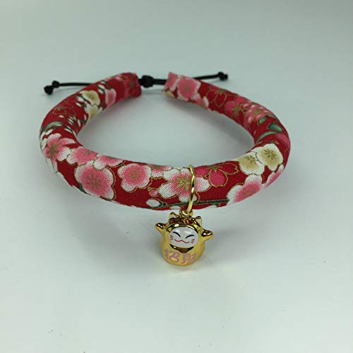 Home 3Decor Japanese Cotton Breakaway Cat Collar with Bell for Cats Dogs 3 Pack, Cute Adjustable Red Floral Small Animal Pet Collars Charm Pendant Accessories