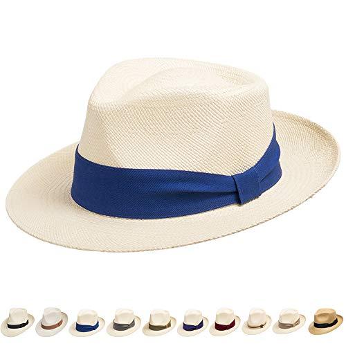 Ultrafino Genuine Havana Classic Panama Straw Dress Hat Comfortable Blue Hatband 7 1/4