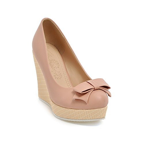 Round The Tie Head Single With Sweet And During Slope Spring Shoes Pink Light Bow Autumn 39 With Waterproof Shoes High Shoes GTVERNH Thick 10Cm Women OFq45Yww