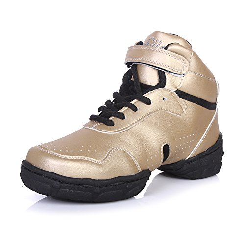 Roymall Heren En Dames Goud Leer Boost Dance Sneaker / Moderne Jazz Ballroom Performance Dance-sneakers Sportschoenen, Model Wzj-ds, 6.5 B (m) Us