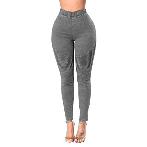 Alta Elastico Skinny Lunghi Donna Pantaloni Vita Eleganti Legging A Jeans Sentao Grigio Casual Matita fq8AwxX
