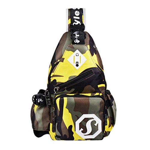 Unisex Außenschultertasche Chest Rucksack mit Camouflage, Gelb