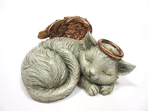 Pet Memorial Angel Cat Sleeping Cremation Urn Memorial Statue Bottom Load 30 Cubic Inch