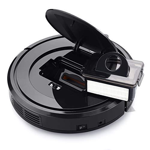 EYUGLE Vacuum Cleaner, Robot w/Slim Higher Suction, Anti-Drop Sensing Tech for Hard w/HEPA Pet