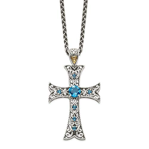 - 925 Sterling Silver 14k London Blue Topaz Cross Religious Chain Necklace Pendant Charm Crucifix Fine Jewelry Gifts For Women For Her