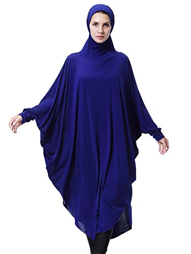 GladThink Womens Muslim Bat's-wing-sleeves Dress Hijab Two in One BLUE M