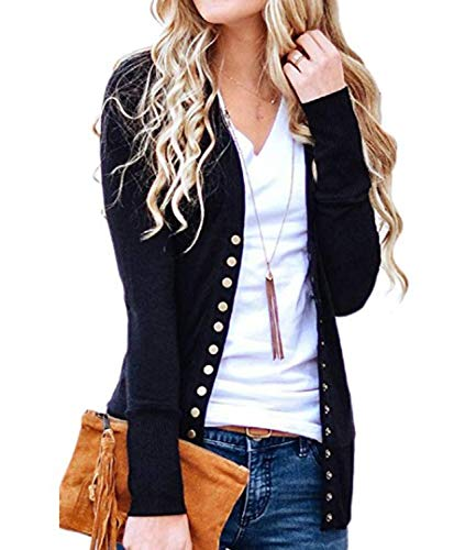 Women's V-Neck Solid Button Down KnitwearSoft Basic Long Sleeve Knit Snap Cardigan Sweater Black L