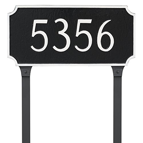 Montague Metal 7.25'' x 15.75'' Princeton One Line Address Sign Plaque with Lawn Stakes, Standard, Gray/White by Montague Metal (Image #3)