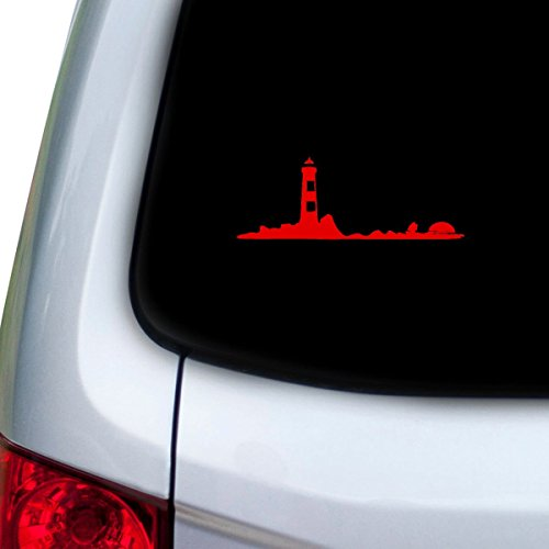 StickAny Car and Auto Decal Series Lighthouse Sunset Sticker for Windows, Doors, Hoods (Red)