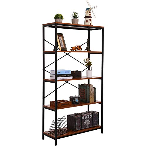 (4 Shelf Bookcase, Bookshelf Industrial Style Metal and Wood Bookshelves, Open Wide Home Office Book Shelf)