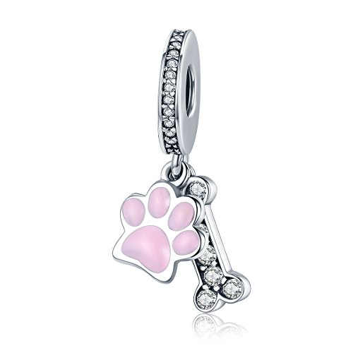PHOCKSIN Dog Paw Puppy Bone 925 Sterling Silver Animal Charms Pendant for Bracelets Girl Women Christmas -