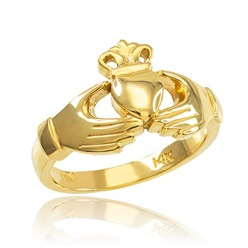Classic 14k Yellow Gold Irish Heart Claddagh Wedding Engagement Ring, Size 7