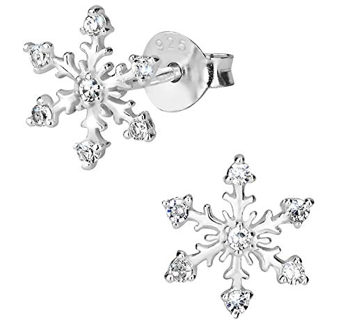Snowflake Earrings - Hypoallergenic Sterling Silver Clear CZ Simulated Diamond Snowflake Earrings for Kids