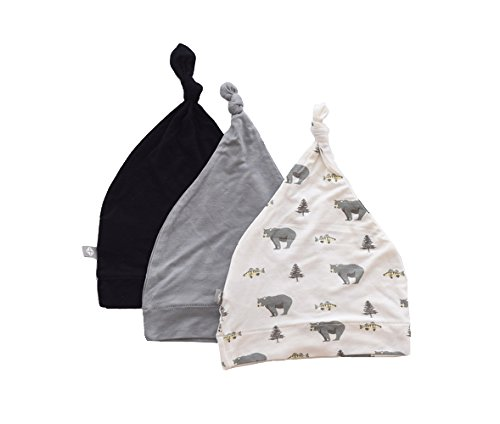 Kyte BABY Organic Bamboo Baby Beanie Hats - Super Soft Knotted Caps Available in Pattern and Solid Colors - 3 Pack (Newborn, (Beanie Hat Patterns)