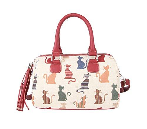 Signare sac d'épaule à poignée tapisserie mode femme chat malicieux