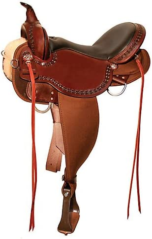 Circle Y Daisetta Cordura Trail Saddle 1501-4 15 inch, Grainout Seat, Tobac, Regular Tree