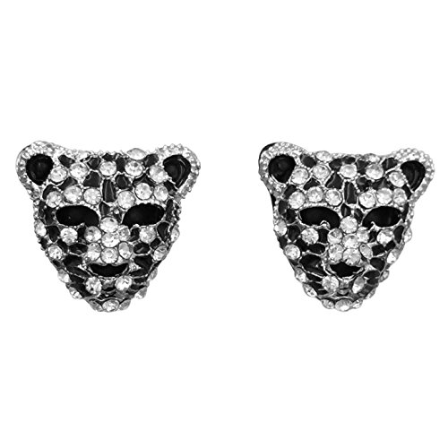 Leopard Wild Cat Face Rhinestone Bling Stud Post Earrings (Silver Tone) -