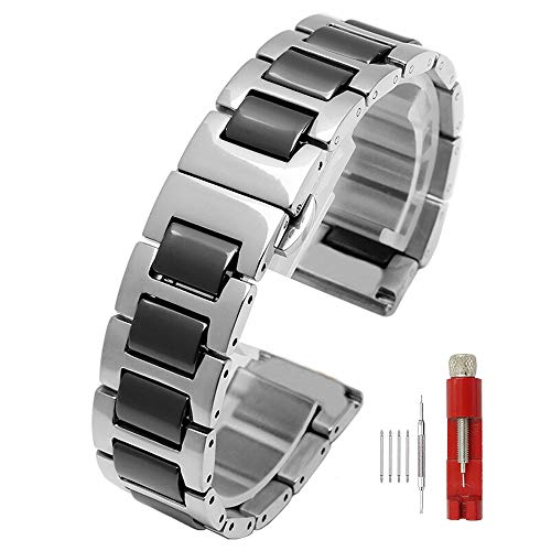 Solid Stainless Steel Ceramic Links Watch Bands Deployment Clasp Replacement 16/18/20/22mm for Men Women