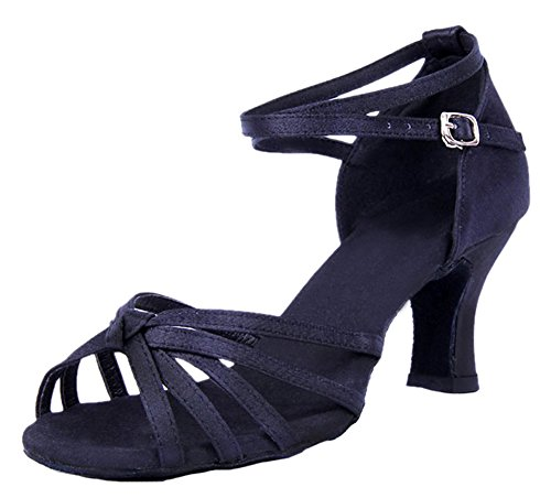 on Black Dance Women's Shoes Knot Straps Satin Honeystore Vamp 8tATq8w