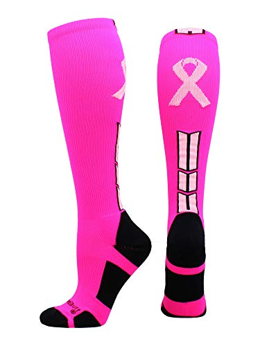 MadSportsStuff Triumph Pink Ribbon Awareness OTC Socks (Neon Pink/Pale Pink, X-Large) (T Shirt Ideas For Breast Cancer Walk)