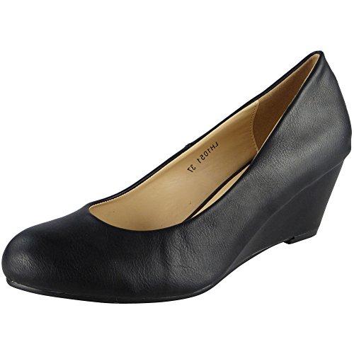 Damen Mitte Hacke Bequem Beiläufig Büro Keil Gericht Schuhe Größe 36-41 Schwarz