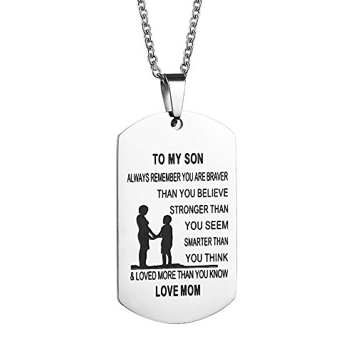 Cheer Mom Necklace (Gagafeel Dad Mom to Son Daughter Dogtags Stainless Steel Pendant Necklace Hand Stamped Unisex Family Christmas Gift (MUM TO SON))