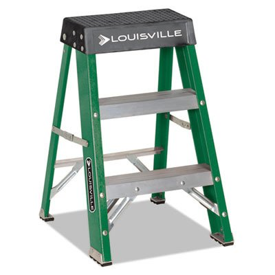 624 Folding Fiberglass Step Stool - Louisville L321202#624 Folding Fiberglass Locking 2-Step Stool, 17 w x 22 Spread x 24 h