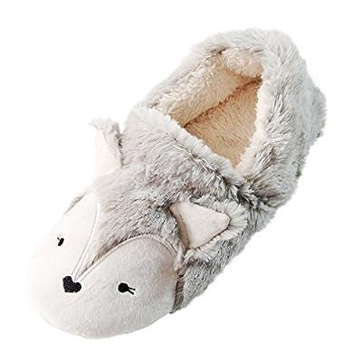 Fox Fleece Slippers   Plush Indoor/Outdoor Bootie Slippers   Furry Winter Boot Home Slippers   Womens Anti-Slip Bootie