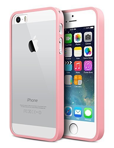 iPhone 5S Case,MiHua Apple iPhone 5S Protective Transparent Slim Case Shock-Absorption Bumper and Anti-Scratch Clear Back - Ultra Slim Back Bumper Case for iPhone 5S (Pink)