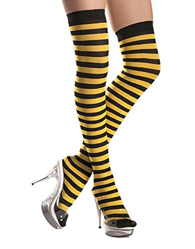 Plus Size Bumble Bee Adult Costumes (Women's Yellow and Black Striped Thigh Hi Stockings Leggings Bumble Bee Tights)