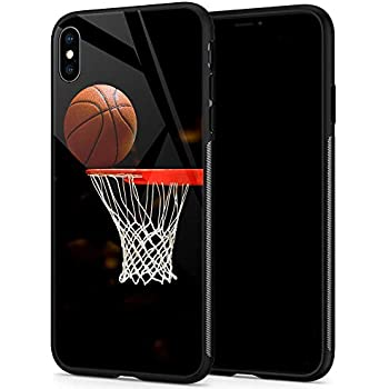 iPhone XR Cases, Tempered Glass iPhone XR Case Basketball Pattern Design Black Cover Sport Case for iPhone XR 6.1-inch Basketball