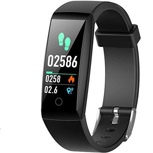 HETP Fitnessarmband met hartslagmeter, fitnesstracker, horloge, waterdicht conform IP67, bloeddrukmeter, stappenteller…