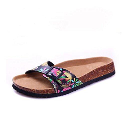 Women's Open Strap Sandals Buckle with Toe Slide YaMiFan Flat Adjustable Slippers 19 6wdHx