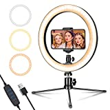 "Photo : LED Ring Light 10"" with Tripod Stand & Phone Holder for Live Streaming & YouTube Video, Dimmable Desk Makeup Ring Light for Photography, Shooting with 3 Light Modes & 10 Brightness Level"