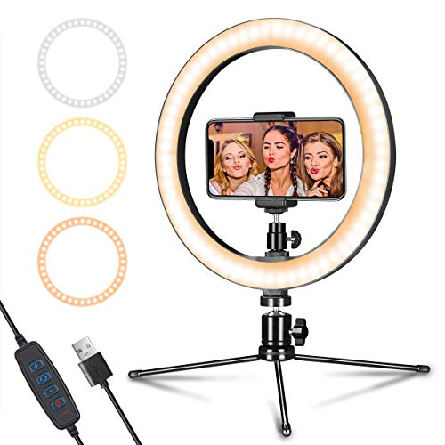 LED Ring Light 10″ with Tripod Stand & Phone Holder for Live Streaming & YouTube Video, Dimmable Desk Makeup Ring Light for Photography, Shooting with 3 Light Modes & 10 Brightness Level