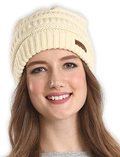 Brook + Bay Cable Knit Multicolored Beanie Stay Warm & Stylish This Winter - Thick, Soft & Chunky Beanie Hats for Women & Men - Serious Beanies for Serious Style (Pearl)
