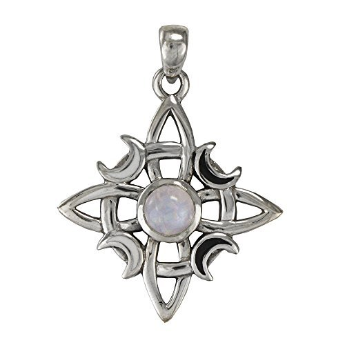 Silver Celtic Knot Natural Rainbow Moonstone Pendant Irish jewelry by Moonlight Mysteries