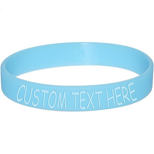 Body Candy Customizable Blue Silicone Style 2 Glow in The Dark Stretch Personalized Message Bracelet (Rubber Glow In The Dark Bracelets)