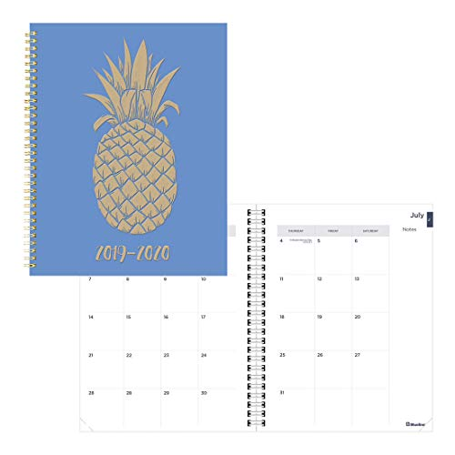 Blueline Monthly Academic Planner, 14-Month, July 2019 to August 2020, Twin-Wire Binding, Poly Cover, Pineapple Design, 11 x 8.5 inches, Blue (CA714PI.01-20) ()