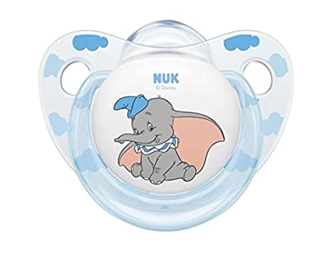 NUK Disney Baby Dumbo Silicone,Orthodontic Shape Soother 0 – 6 Months (2 Pieces) Blue