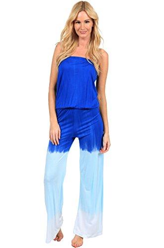Ingear Summer Jumper Long Tie Dye Strapless Beach Romper Playsuit Jumpsuit,Blue,X-Large