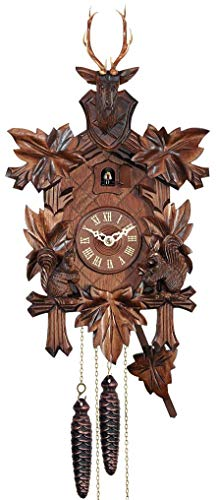 (Engstler Cuckoo Clock - 1-Day Hunter with Stag Head and Squirrels)