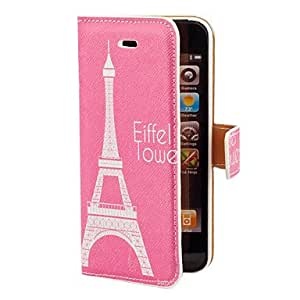 GHK - Eiffel Towel in Rose Background Pattern PU Full Body Case with Card Slot and Stand for iPhone 5/5S