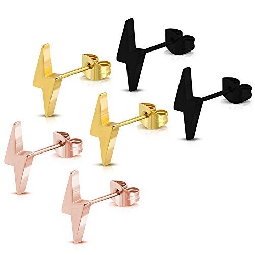 (Stainless Steel Lightning Bolt Flash Thunder Button Stud Post Earrings (Black, Gold, Rose) 3-Color Set)