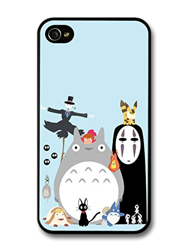 Miyazaki Animation Characters with Totoro No Face Calcifer Fire Illustration coque pour iPhone 4 4S
