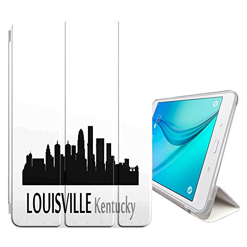 STPlus Louisville, Kentucky USA City Skyline Silhouette Postcard Smart Cover With Back Case + Auto Sleep/Wake Function + Stand for Samsung Galaxy Tab A 10.1