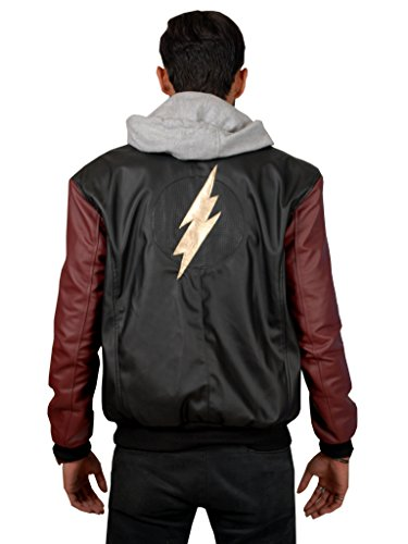 ABz Leathers Superhero Collection of Jackets/Coats/Vests-Available in Different Designs and Colors (XL, Black-Flash-Hoodie-PU-Leather) by ABz Leathers